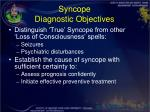 syncope diagnostic objectives
