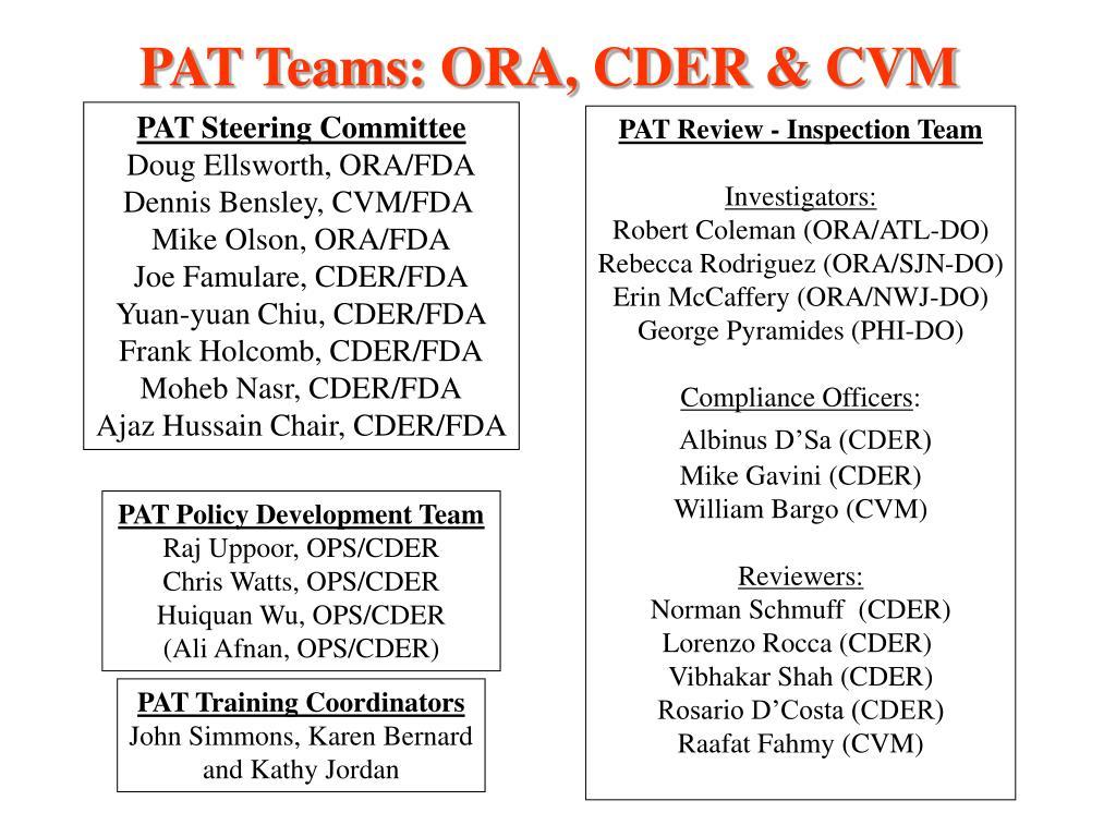 PAT Teams: ORA, CDER & CVM