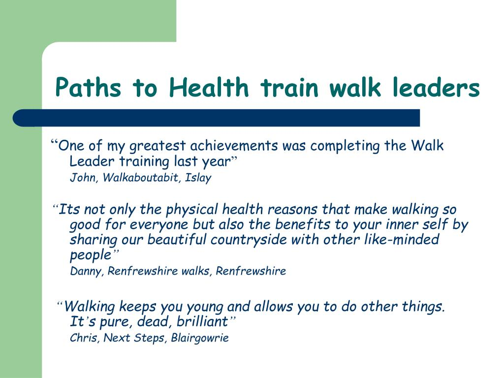 Paths to Health train walk leaders
