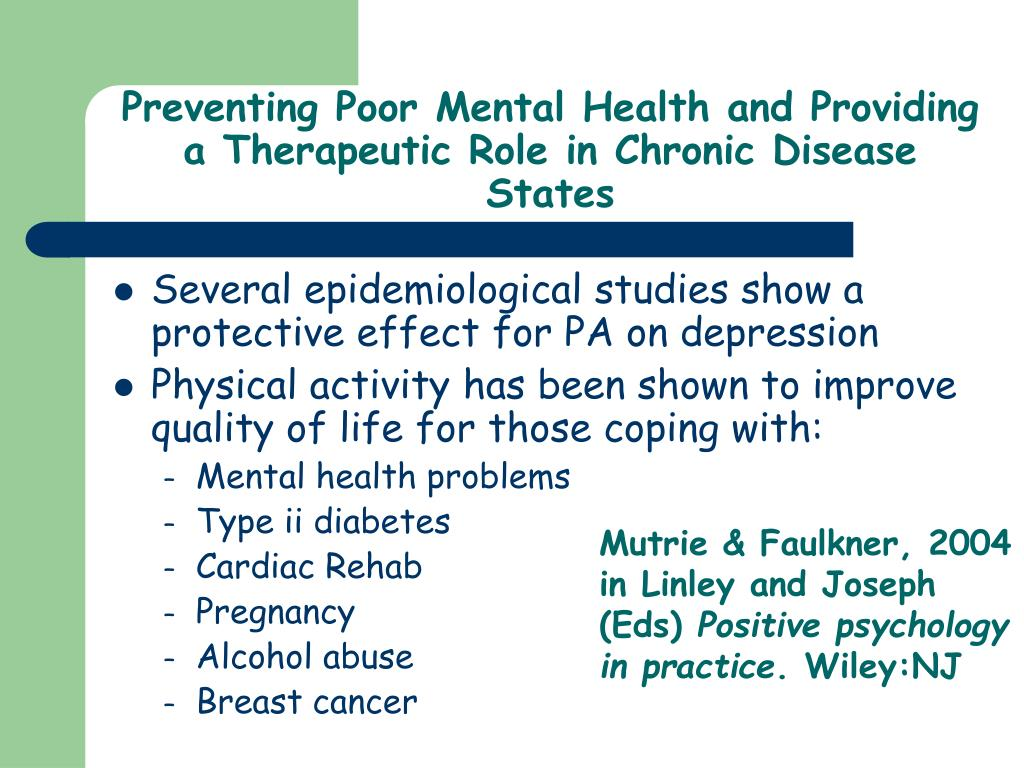 Preventing Poor Mental Health and Providing a Therapeutic Role in Chronic Disease States