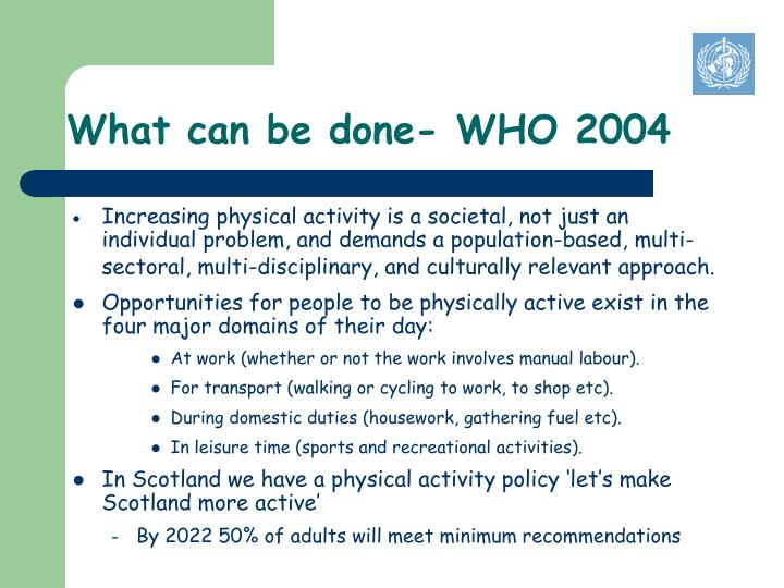 What can be done who 2004