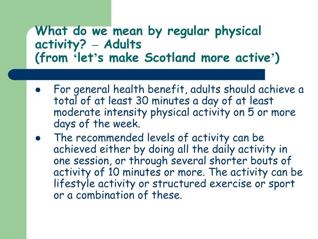 What do we mean by regular physical activity?