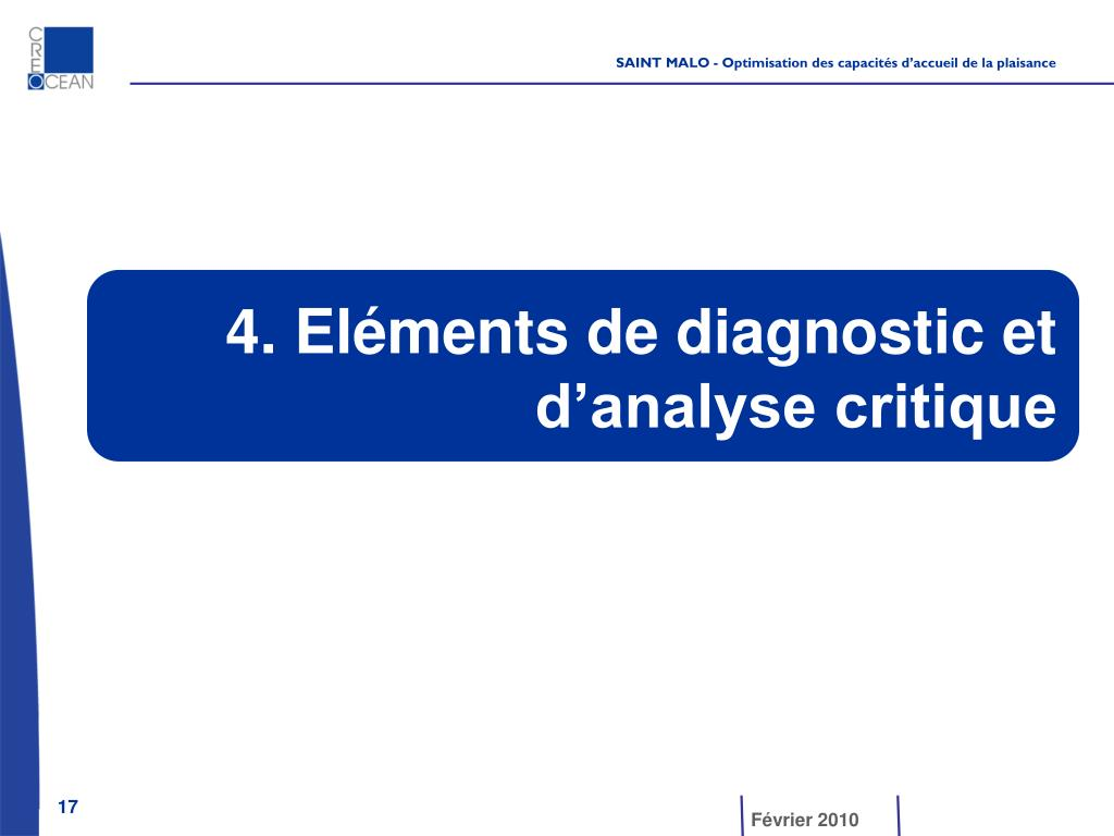 4. Eléments de diagnostic et d'analyse critique