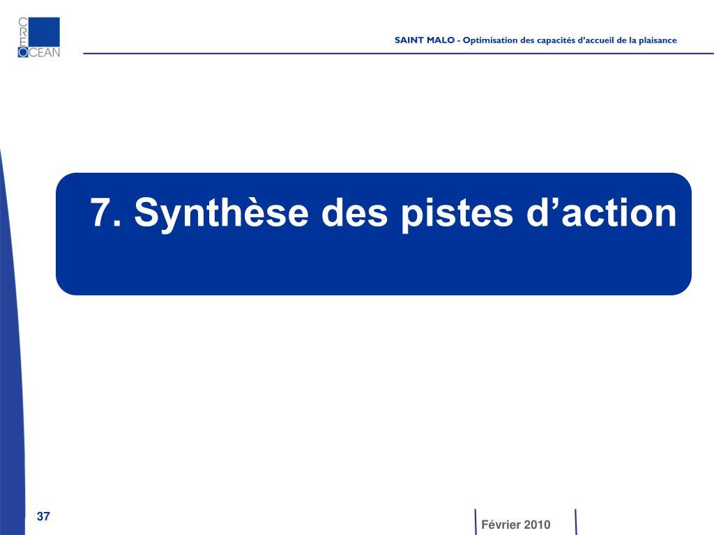 7. Synthèse des pistes d'action