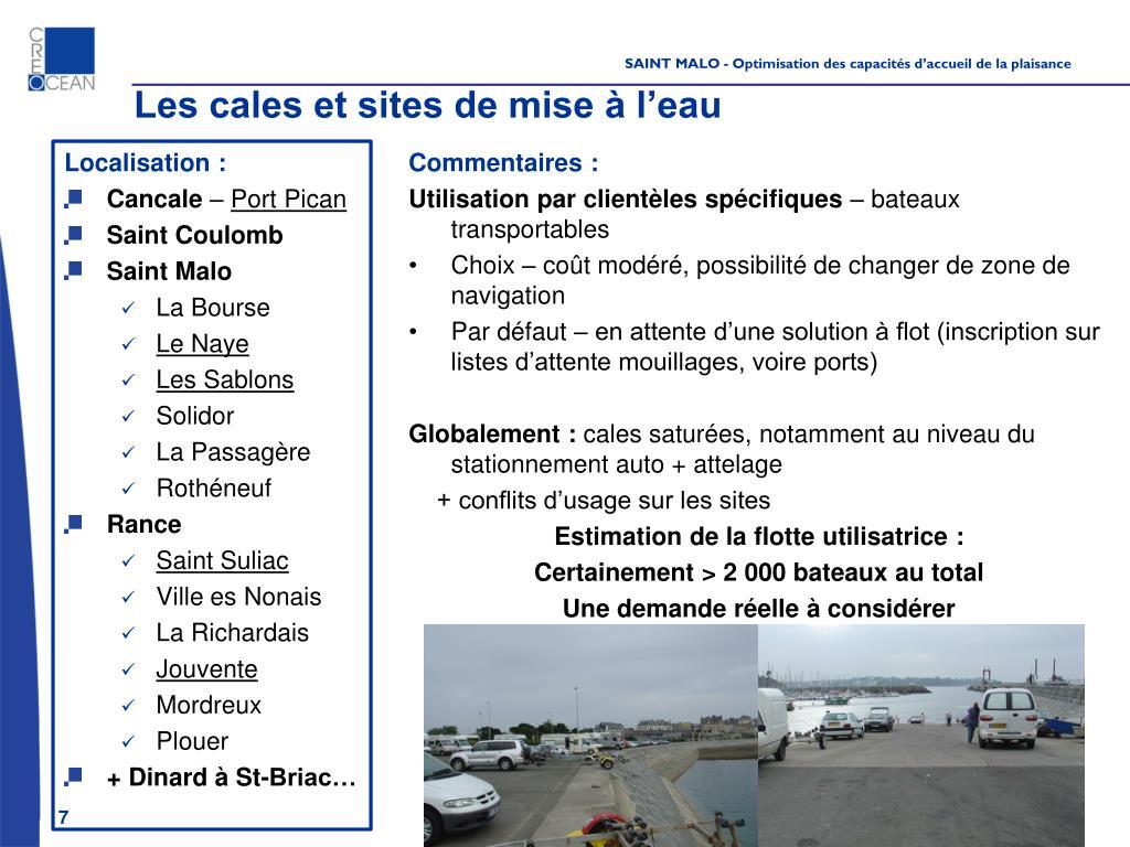 Les cales et sites de mise à l'eau