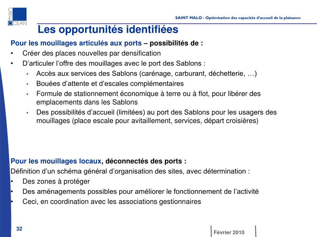 Les opportunités identifiées