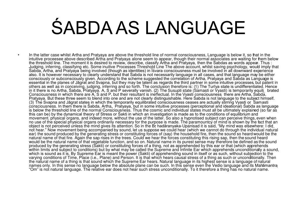 ŚABDA AS LANGUAGE