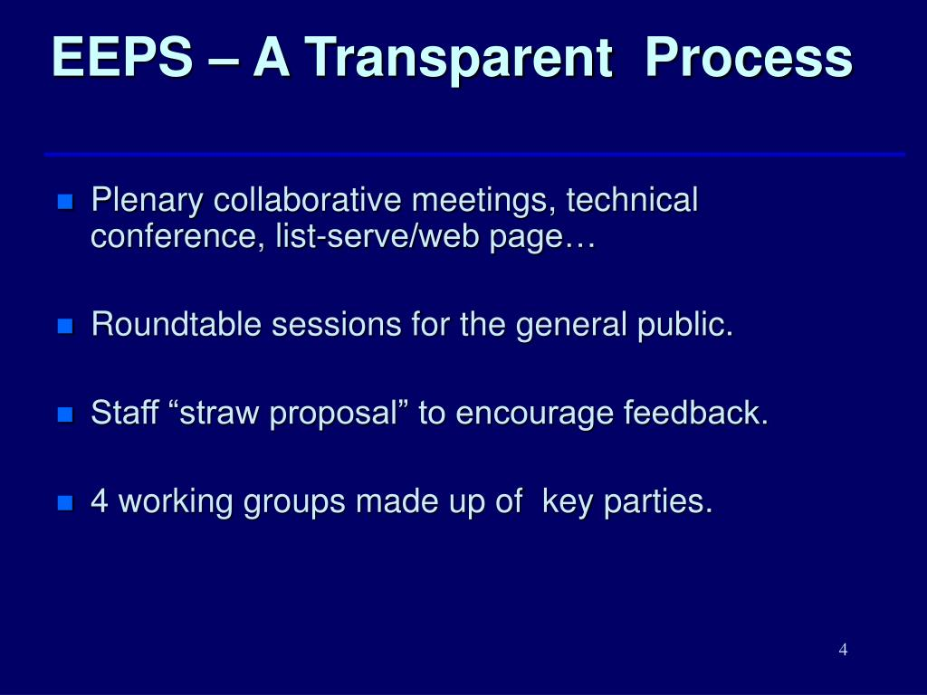 EEPS – A Transparent  Process
