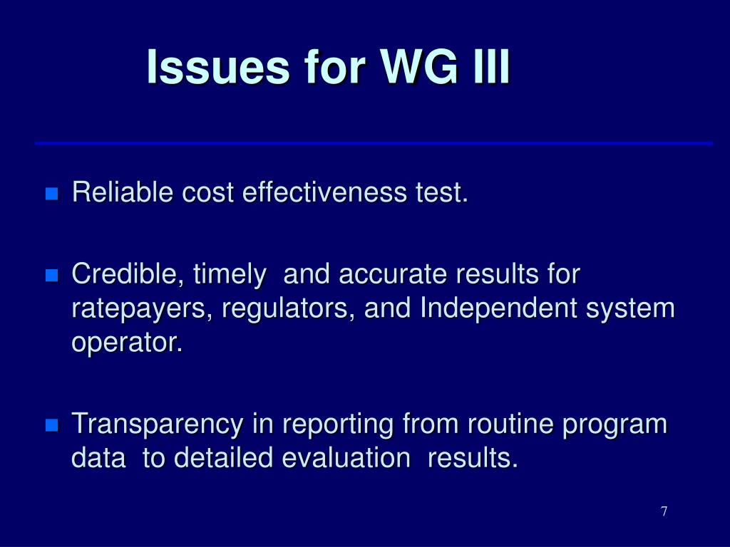 Issues for WG III