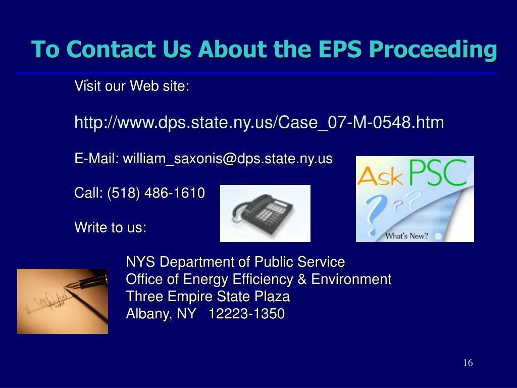 To Contact Us About the EPS Proceeding