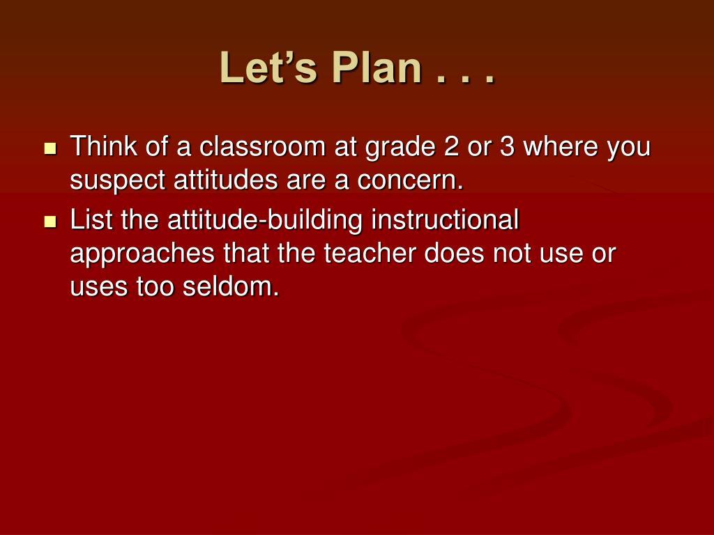 Let's Plan . . .