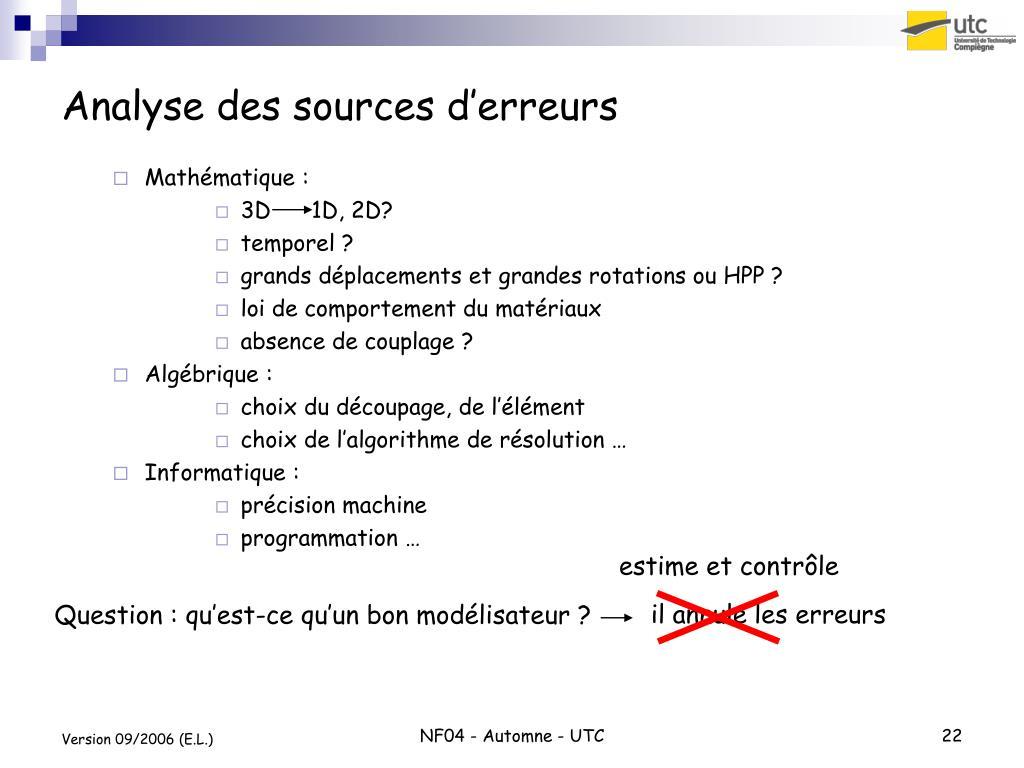 Analyse des sources d'erreurs
