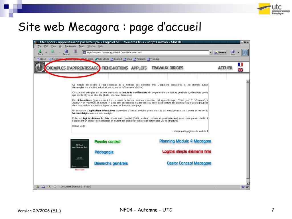 Site web Mecagora : page d'accueil