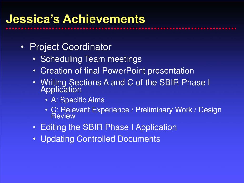 Jessica's Achievements