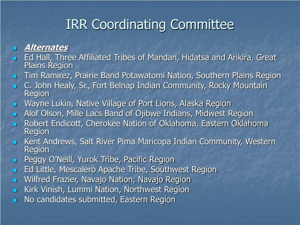 IRR Coordinating Committee