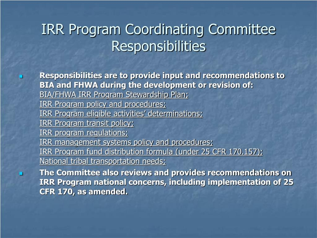 IRR Program Coordinating Committee Responsibilities