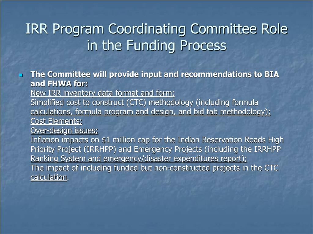 IRR Program Coordinating Committee Role in the Funding Process