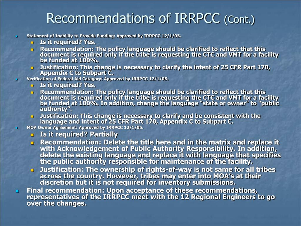 Recommendations of IRRPCC
