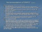 recommendations of irrpcc cont21