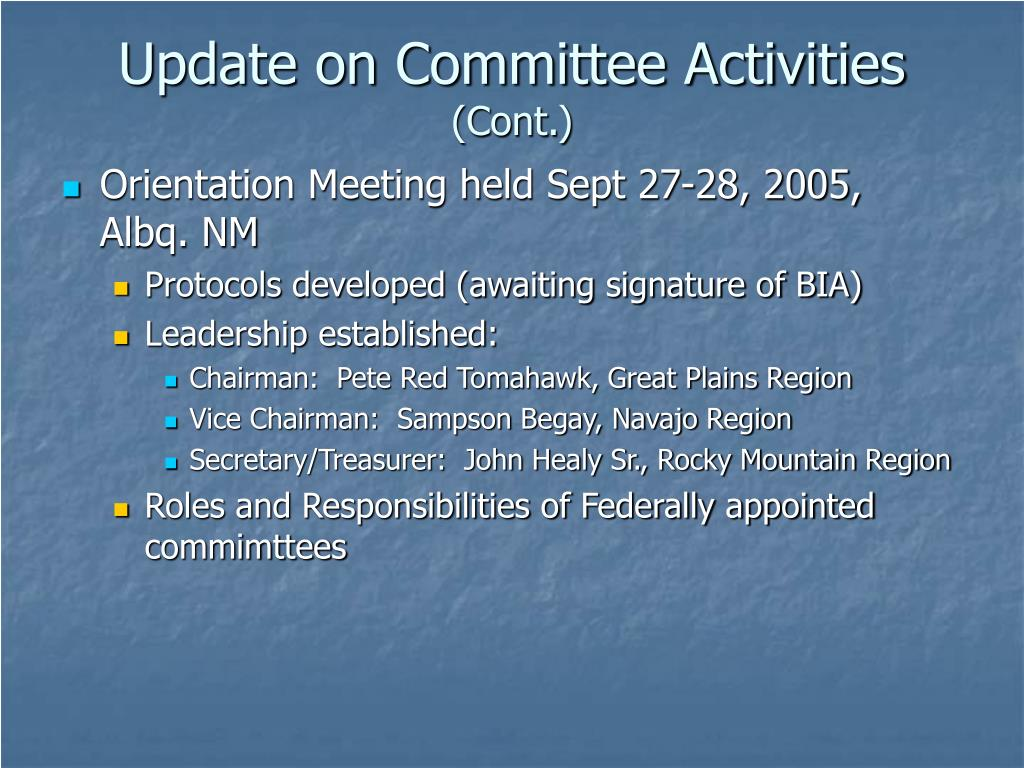 Update on Committee Activities