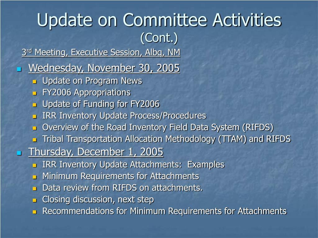Update on Committee Activities