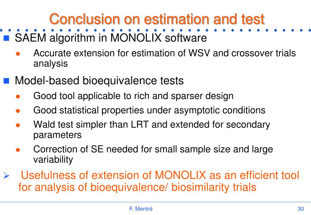 Conclusion on estimation and test