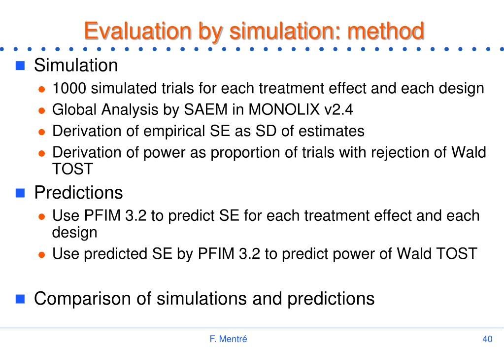 Evaluation by simulation: