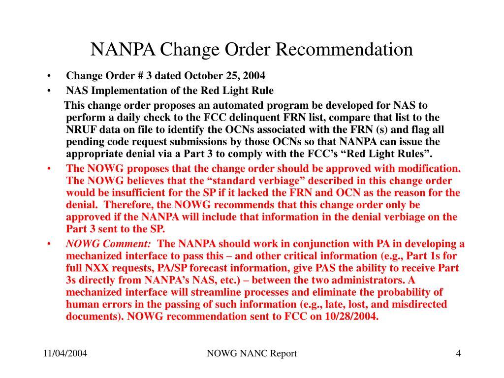 NANPA Change Order Recommendation