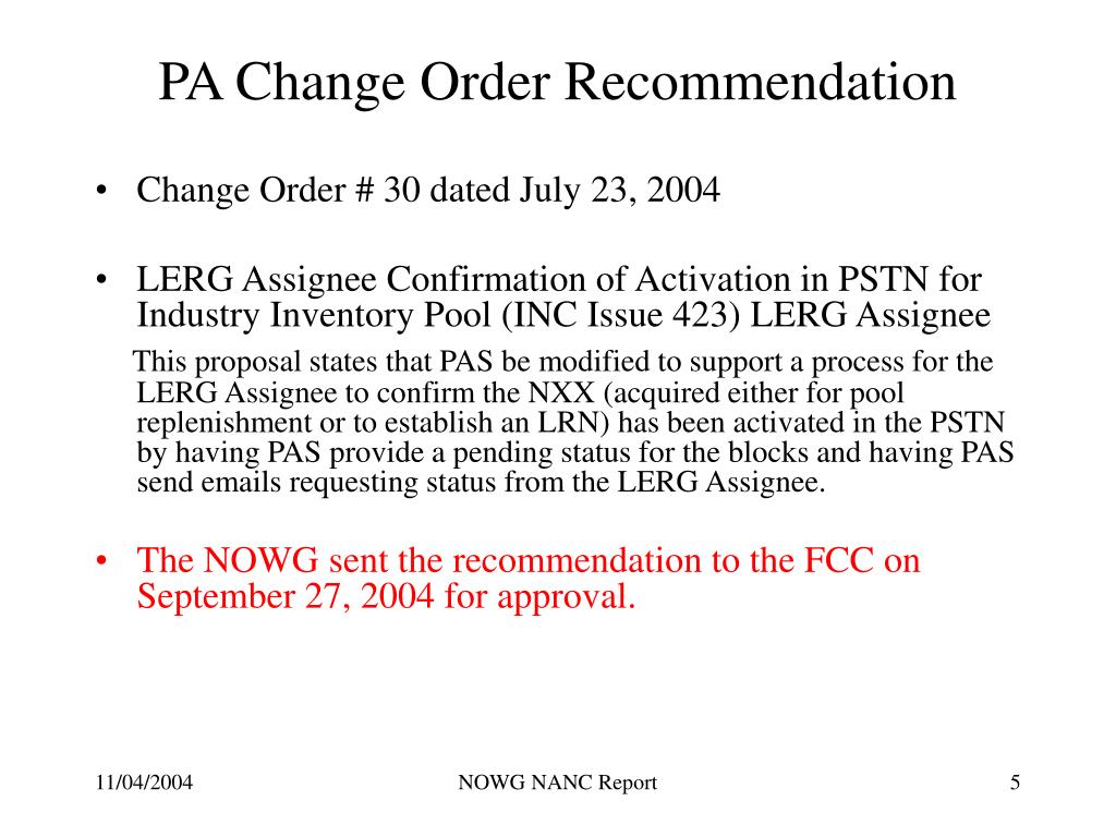 PA Change Order Recommendation