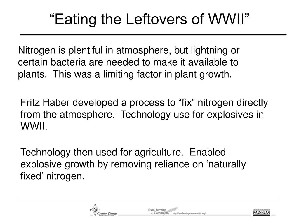 """Eating the Leftovers of WWII"""
