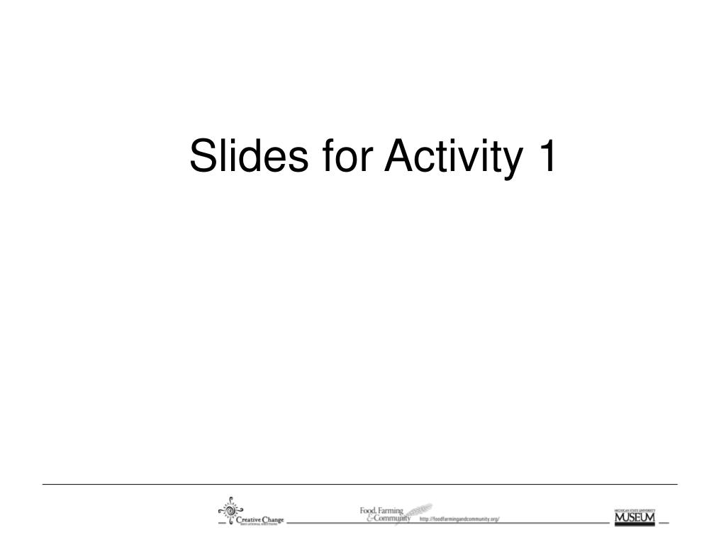 Slides for Activity 1