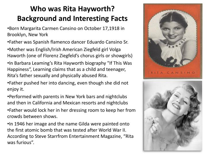 Who was rita hayworth background and interesting facts