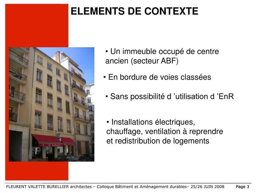 ELEMENTS DE CONTEXTE