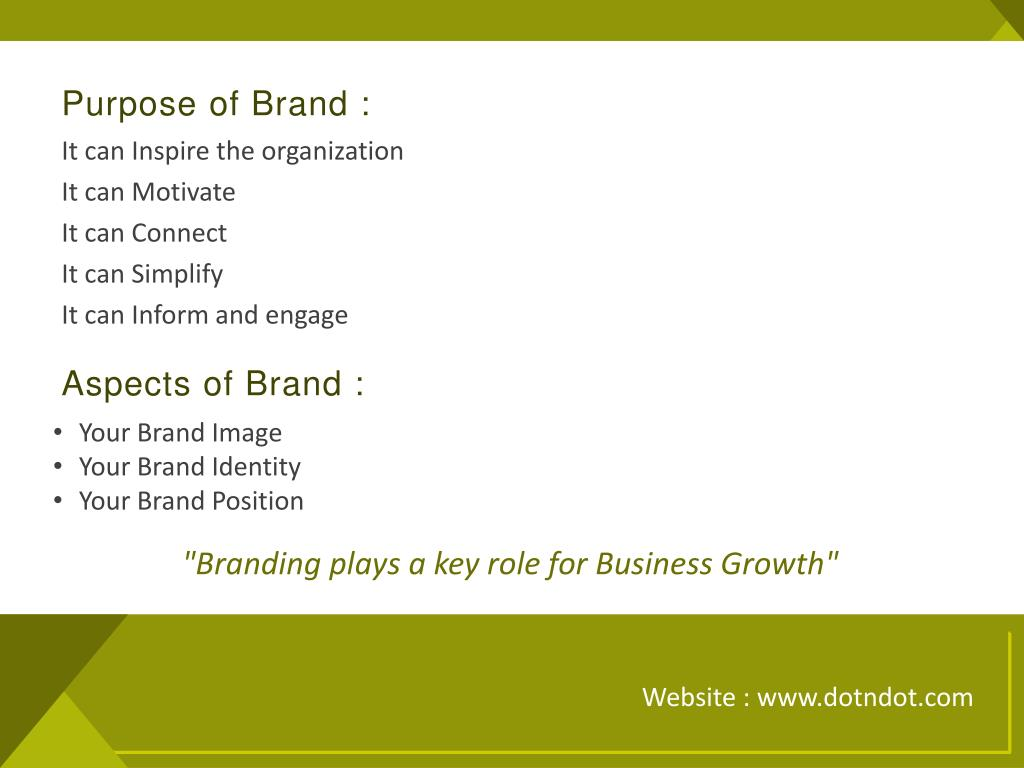 Purpose of Brand :