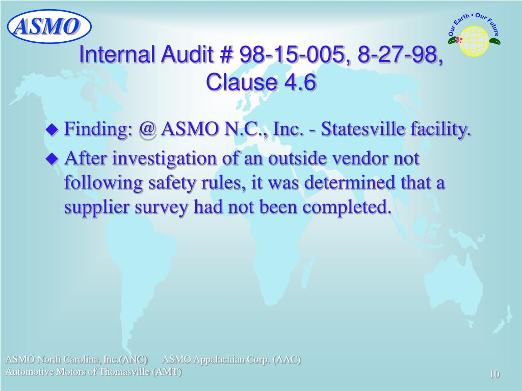 Internal Audit # 98-15-005, 8-27-98, Clause 4.6