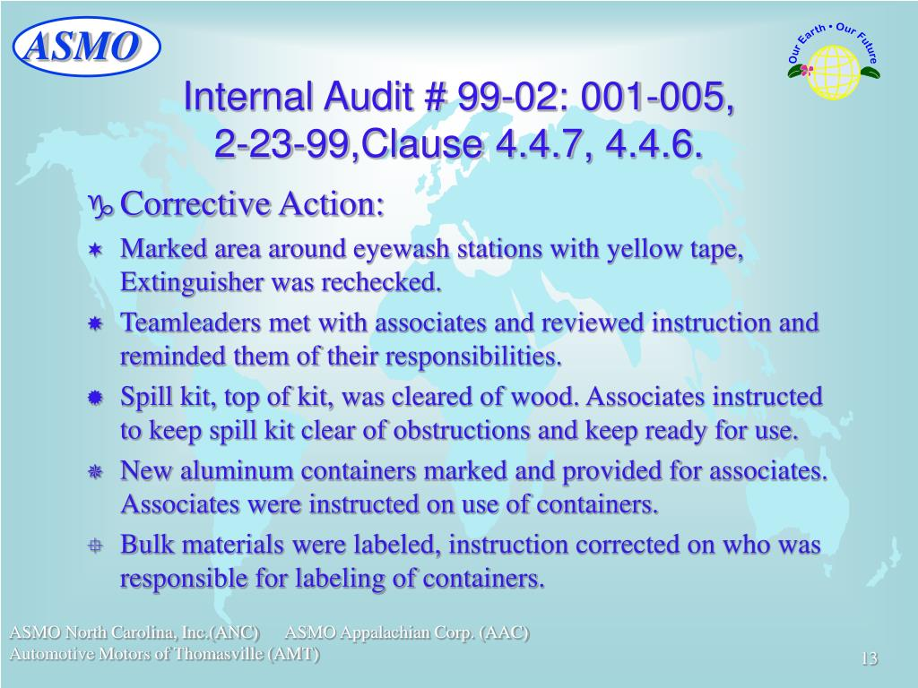 Internal Audit # 99-02: 001-005,