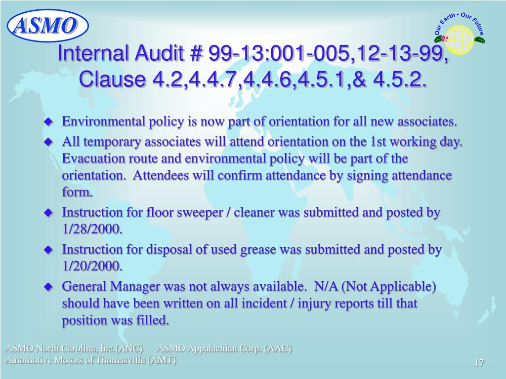 Internal Audit # 99-13:001-005,12-13-99, Clause 4.2,4.4.7,4.4.6,4.5.1,& 4.5.2.