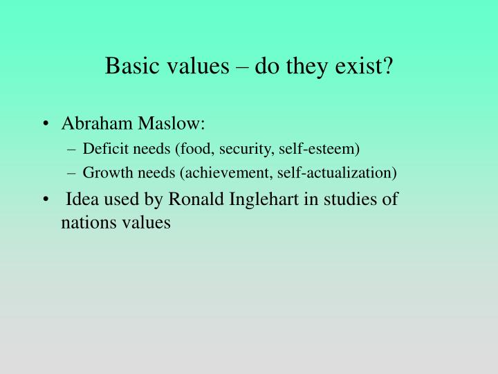 Basic values do they exist