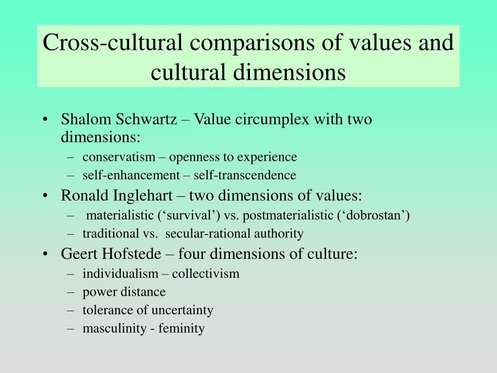 Cross-cultural comparisons of values and cultural dimensions
