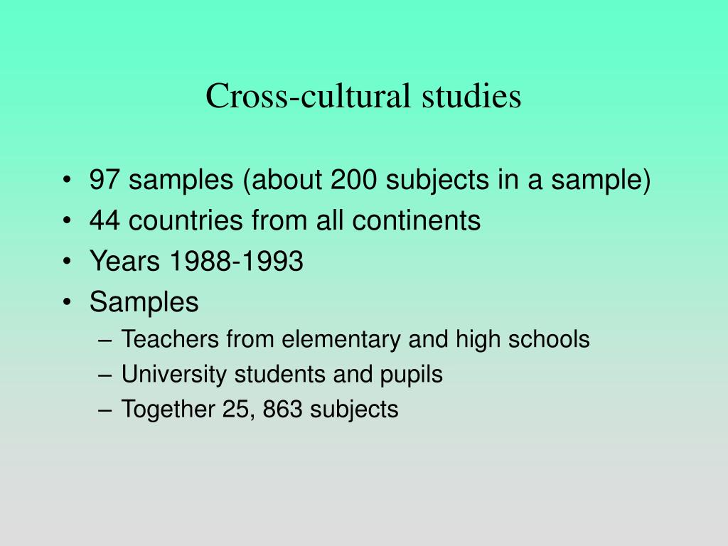 Cross-cultural studies
