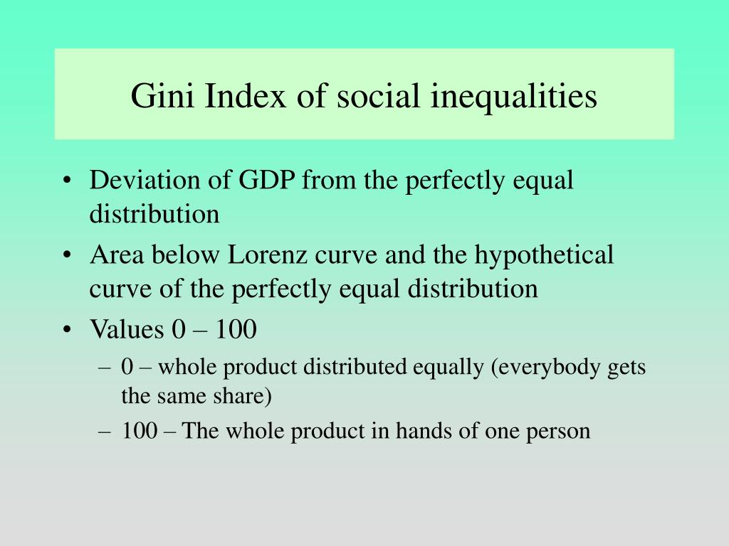 Gini Index of social inequalities