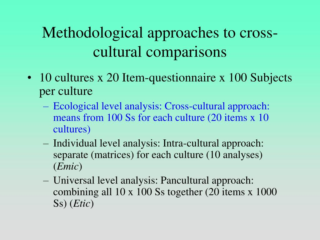 Methodological approaches to cross-cultural comparisons