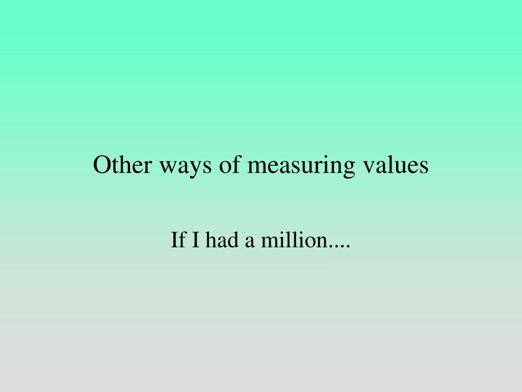 Other ways of measuring values