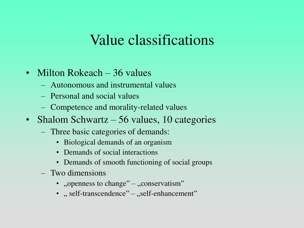Value classifications
