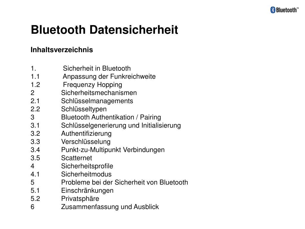 Bluetooth Datensicherheit