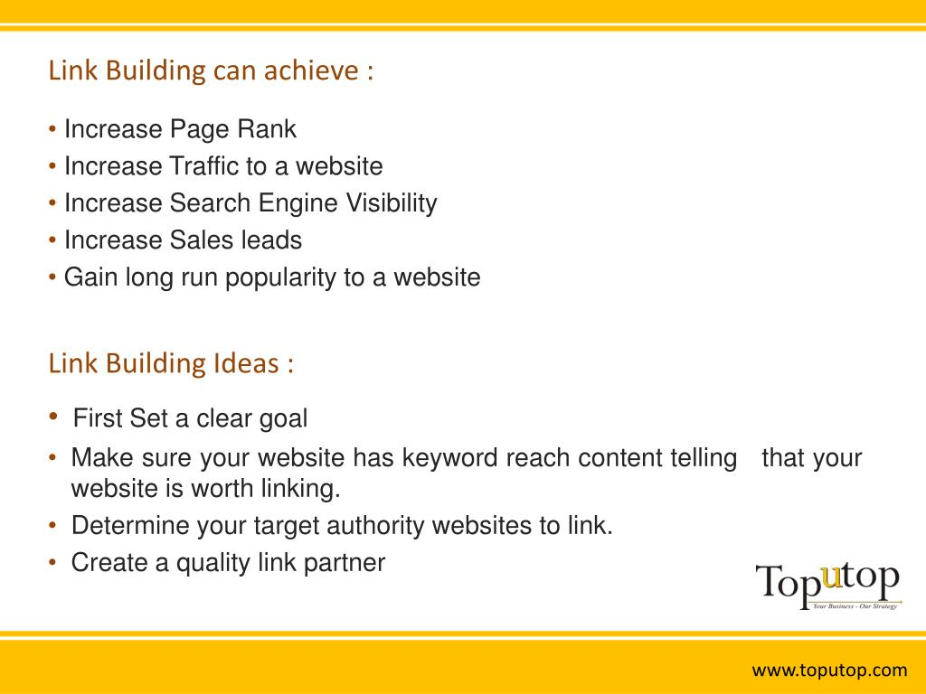 Link Building can achieve :