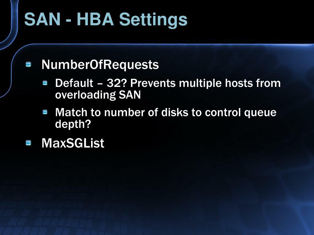 SAN - HBA Settings