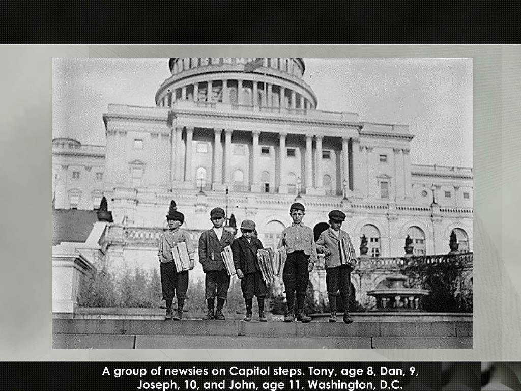 A group of newsies on Capitol steps. Tony, age 8, Dan, 9,