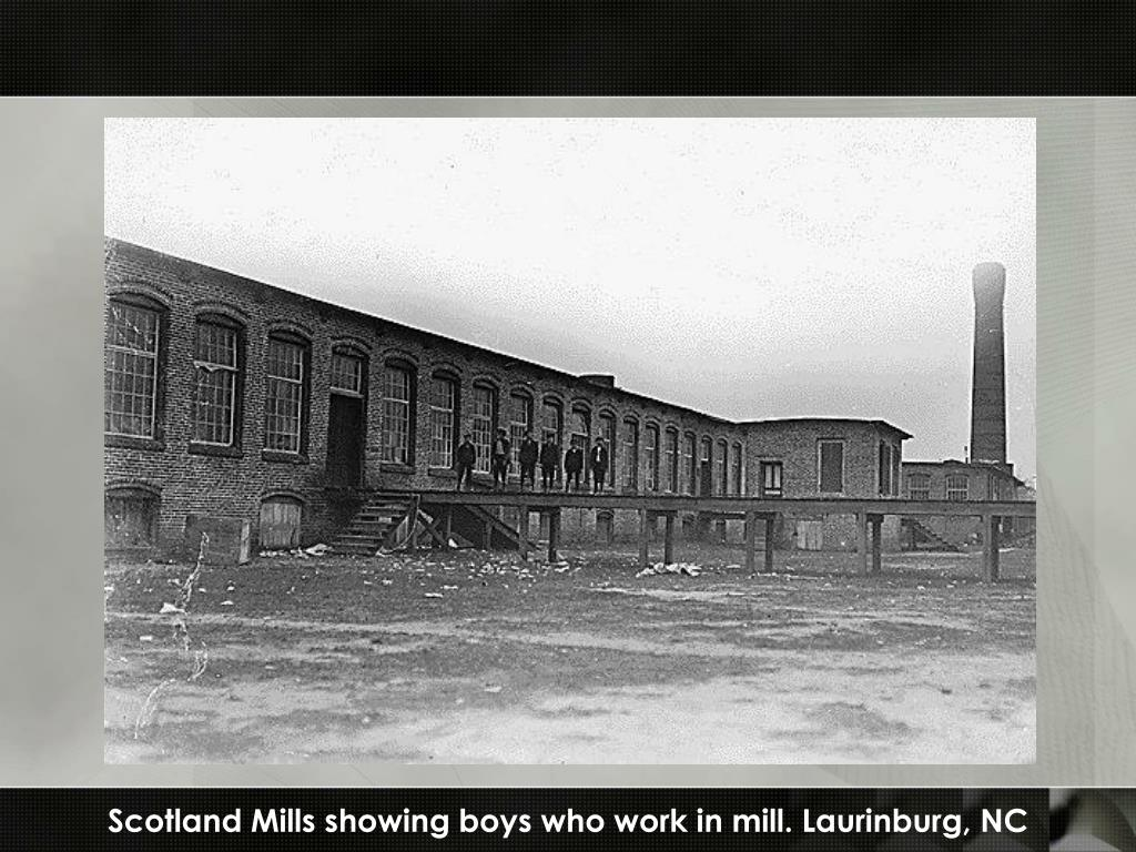Scotland Mills showing boys who work in mill. Laurinburg, NC