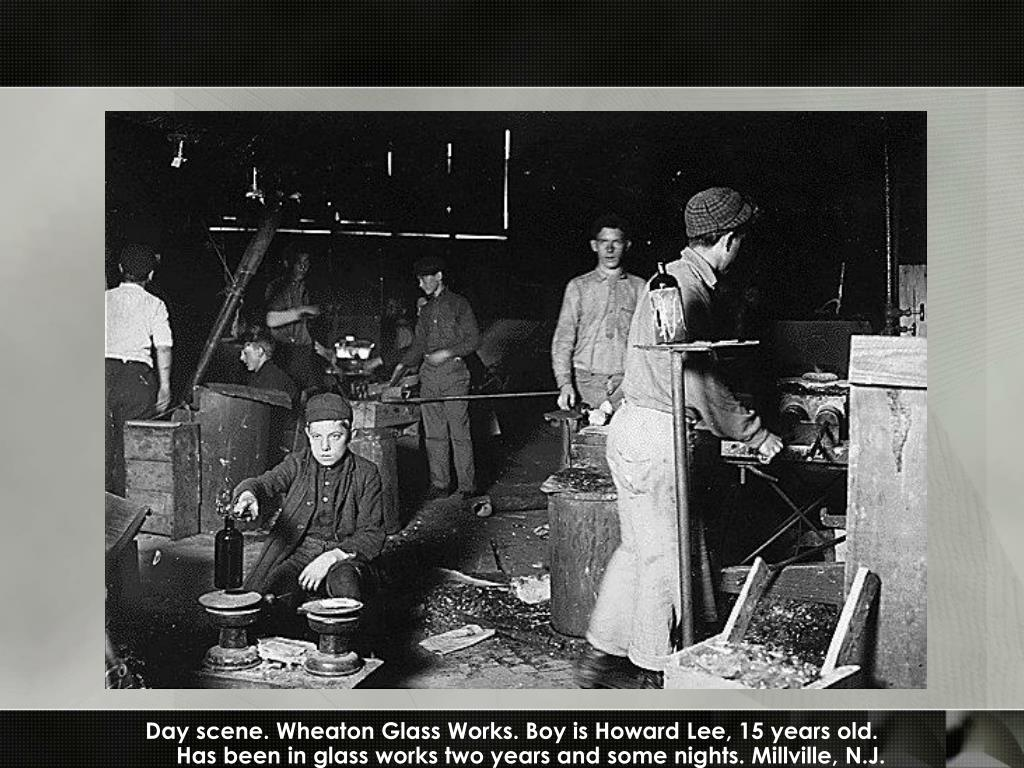 Day scene. Wheaton Glass Works. Boy is Howard Lee, 15 years old.
